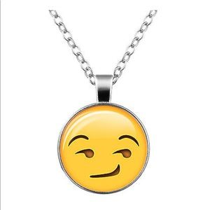 Jewelry - Smirk 😏 Emoji Glass & Silver Necklace
